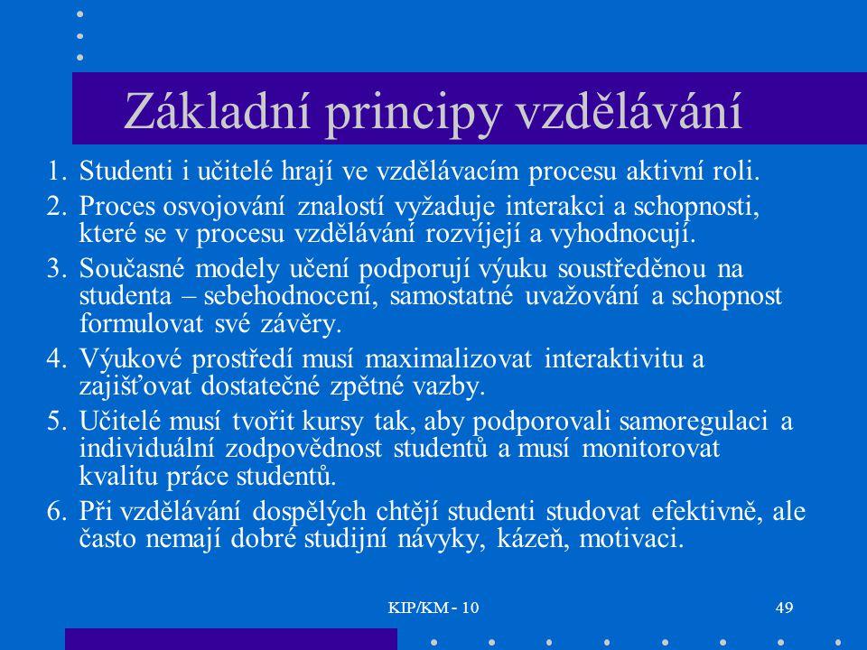 KIP/KM - 1049 Základní principy vzdělávání 1.Studenti i učitelé hrají ve vzdělávacím procesu aktivní roli.