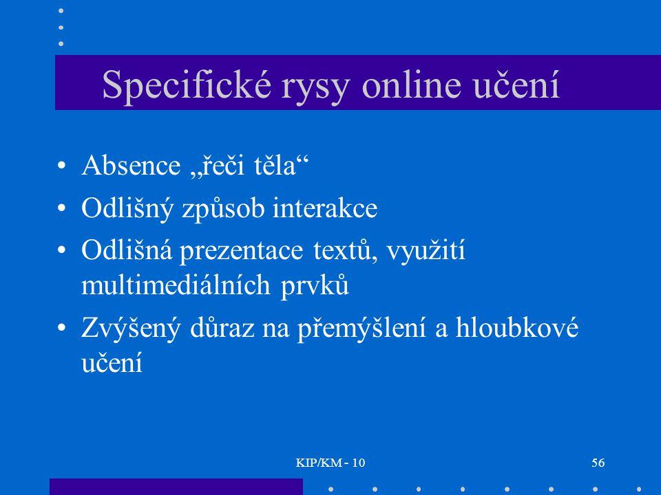 """KIP/KM - 1056 Specifické rysy online učení Absence """"řeči těla Odlišný způsob interakce Odlišná prezentace textů, využití multimediálních prvků Zvýšený důraz na přemýšlení a hloubkové učení"""