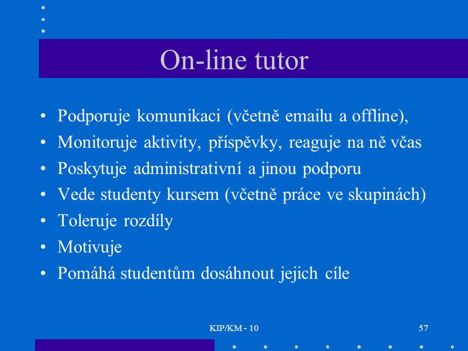 KIP/KM - 1057 On-line tutor Podporuje komunikaci (včetně emailu a offline), Monitoruje aktivity, příspěvky, reaguje na ně včas Poskytuje administrativní a jinou podporu Vede studenty kursem (včetně práce ve skupinách) Toleruje rozdíly Motivuje Pomáhá studentům dosáhnout jejich cíle