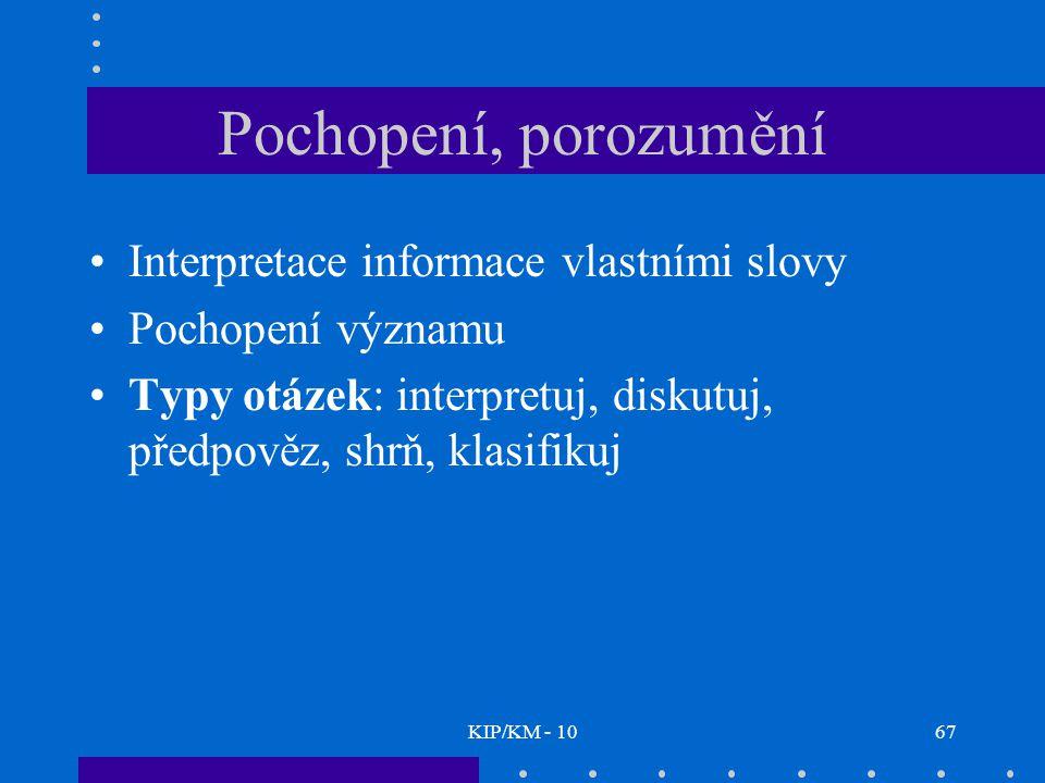 KIP/KM - 1067 Pochopení, porozumění Interpretace informace vlastními slovy Pochopení významu Typy otázek: interpretuj, diskutuj, předpověz, shrň, klasifikuj