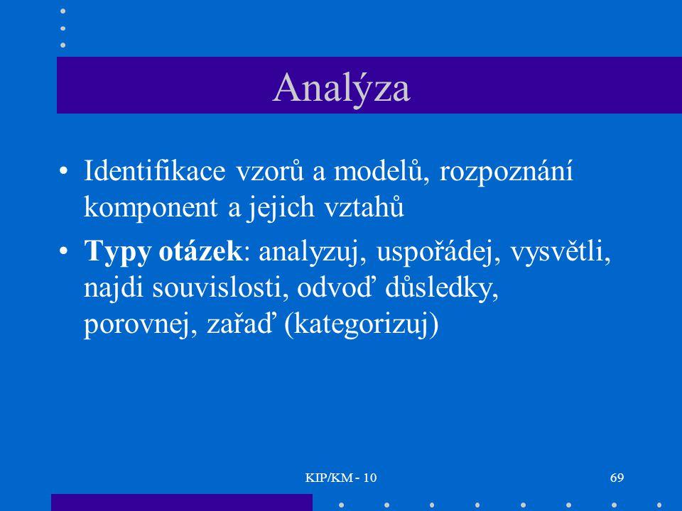 KIP/KM - 1069 Analýza Identifikace vzorů a modelů, rozpoznání komponent a jejich vztahů Typy otázek: analyzuj, uspořádej, vysvětli, najdi souvislosti, odvoď důsledky, porovnej, zařaď (kategorizuj)