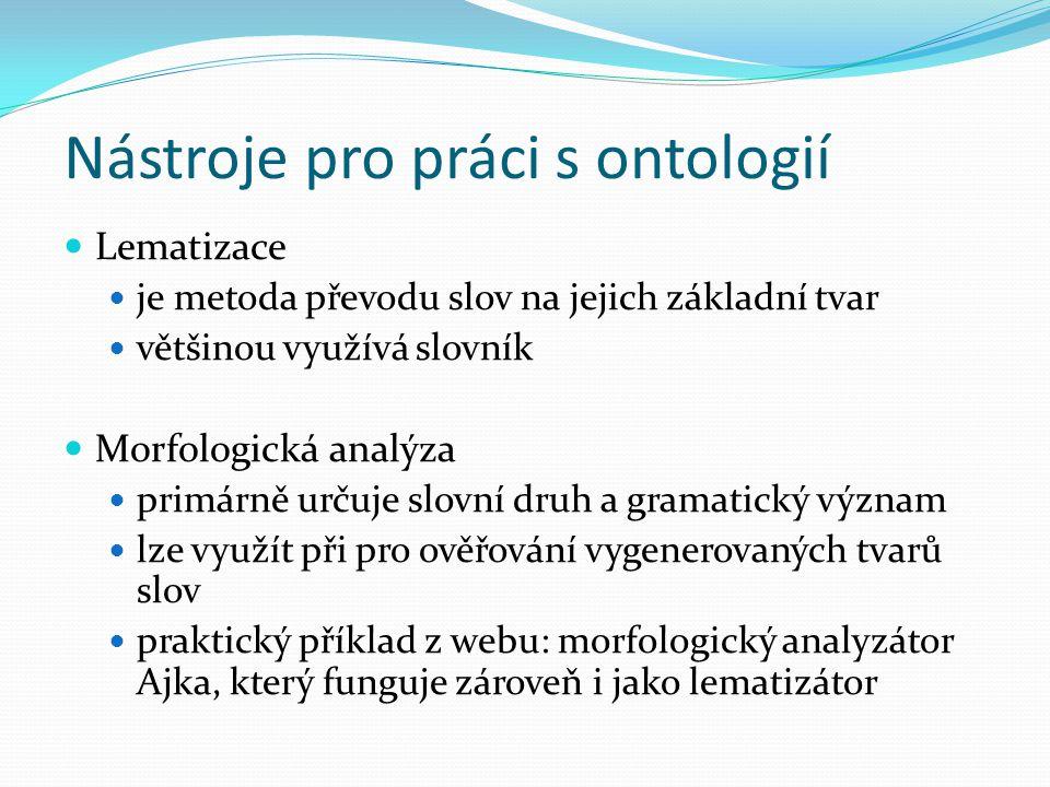 Nástroje pro práci s ontologií Lematizace je metoda převodu slov na jejich základní tvar většinou využívá slovník Morfologická analýza primárně určuje