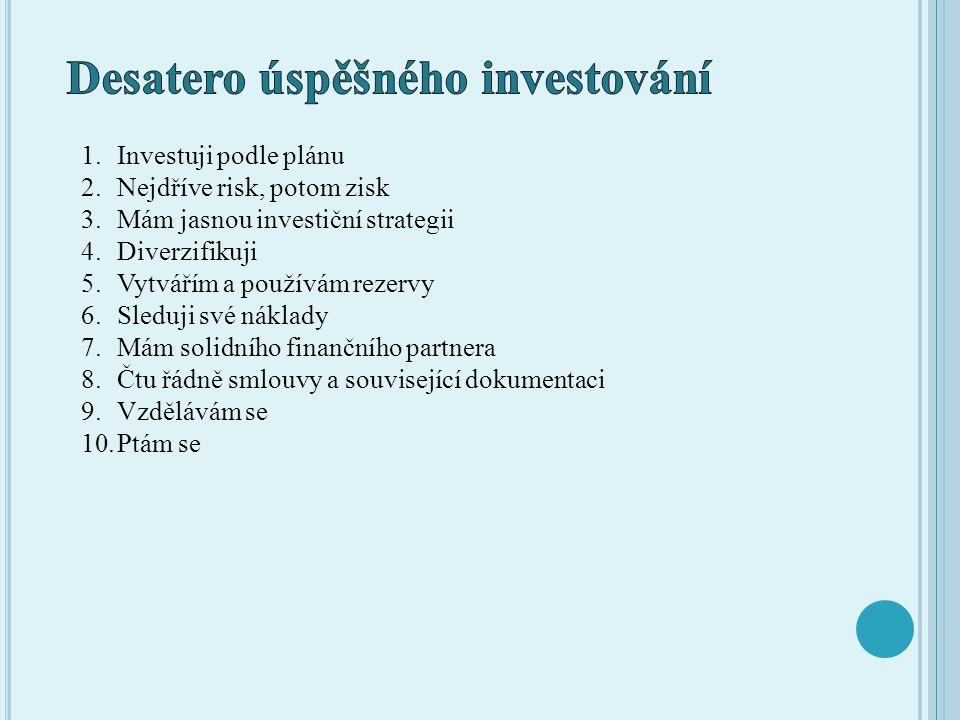 1.Investuji podle plánu 2.Nejdříve risk, potom zisk 3.Mám jasnou investiční strategii 4.Diverzifikuji 5.Vytvářím a používám rezervy 6.Sleduji své nákl