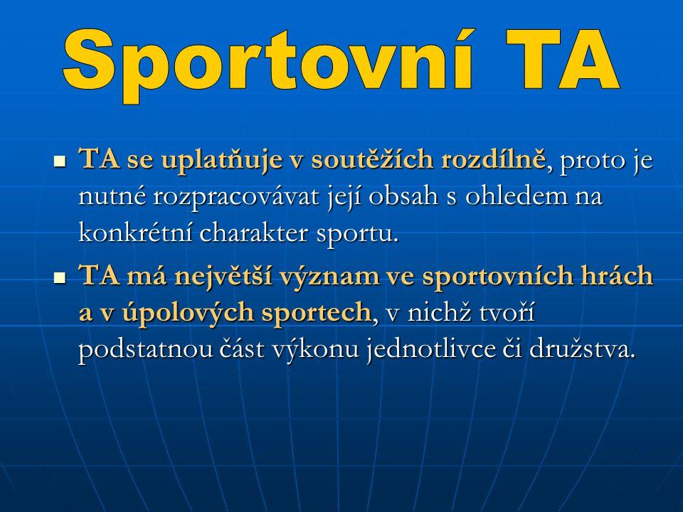 TA se uplatňuje v soutěžích rozdílně, proto je nutné rozpracovávat její obsah s ohledem na konkrétní charakter sportu. TA se uplatňuje v soutěžích roz
