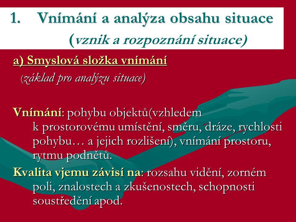 a) Smyslová složka vnímání ( základ pro analýzu situace) ( základ pro analýzu situace) Vnímání: pohybu objektů(vzhledem k prostorovému umístění, směru