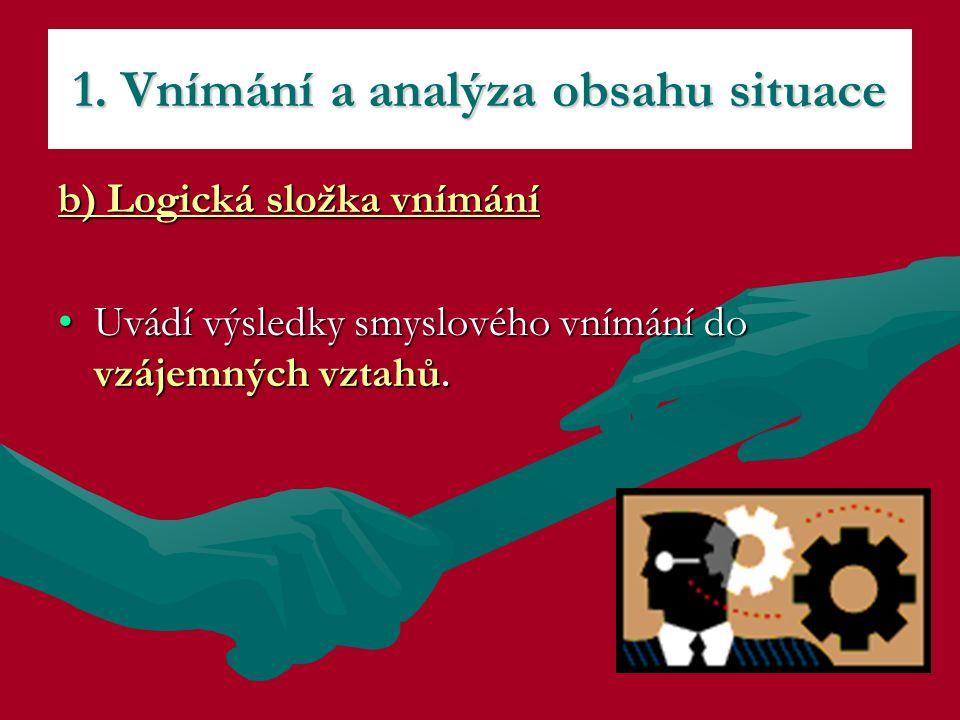 b) Logická složka vnímání Uvádí výsledky smyslového vnímání do vzájemných vztahů.Uvádí výsledky smyslového vnímání do vzájemných vztahů. 1. Vnímání a