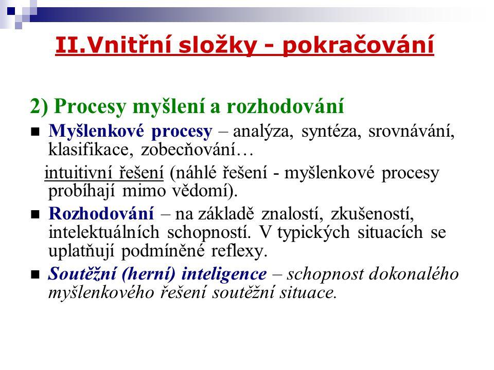 II.Vnitřní složky - pokračování 2) Procesy myšlení a rozhodování Myšlenkové procesy – analýza, syntéza, srovnávání, klasifikace, zobecňování… intuitiv