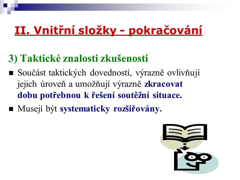 II. Vnitřní složky - pokračování 3) Taktické znalosti zkušenosti Součást taktických dovedností, výrazně ovlivňují jejich úroveň a umožňují výrazně zkr