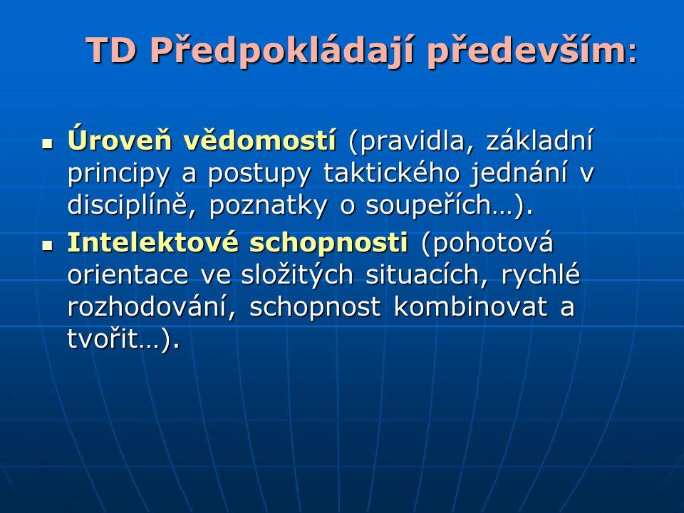 TD Předpokládají především : Úroveň vědomostí (pravidla, základní principy a postupy taktického jednání v disciplíně, poznatky o soupeřích…). Úroveň v