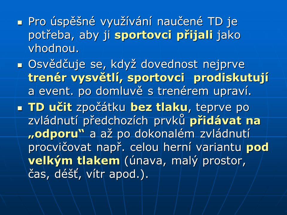 Pro úspěšné využívání naučené TD je potřeba, aby ji sportovci přijali jako vhodnou. Pro úspěšné využívání naučené TD je potřeba, aby ji sportovci přij