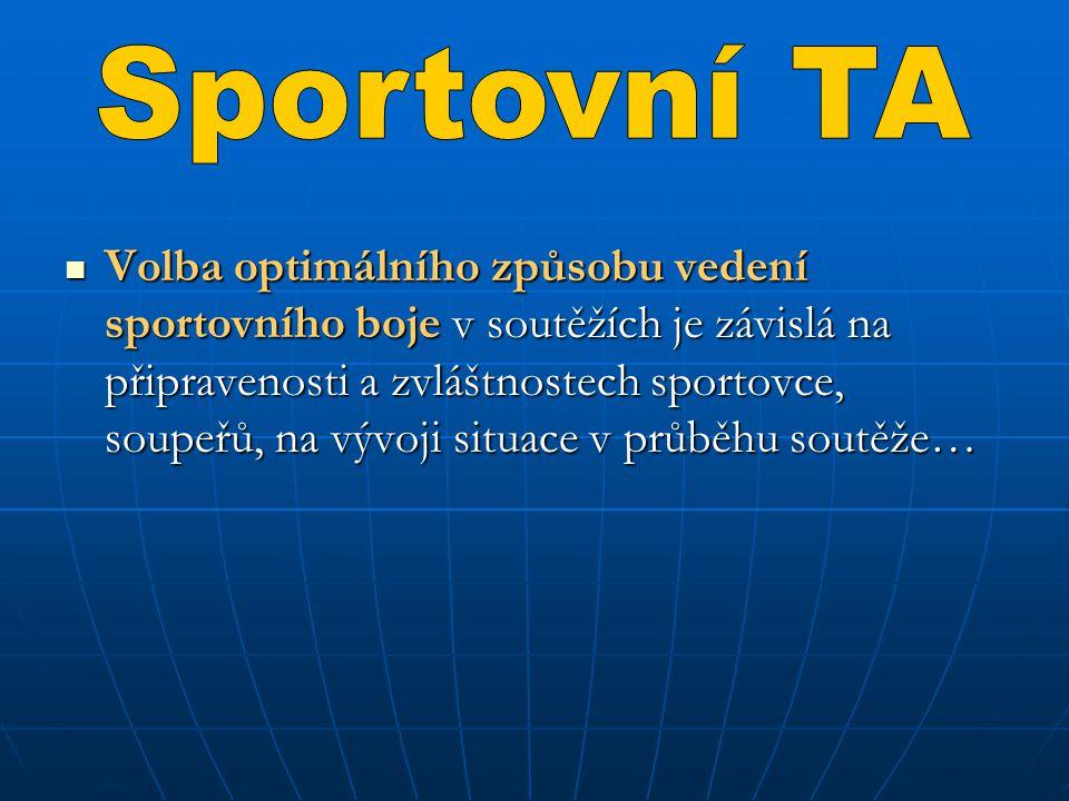 TA se uplatňuje v soutěžích rozdílně, proto je nutné rozpracovávat její obsah s ohledem na konkrétní charakter sportu.