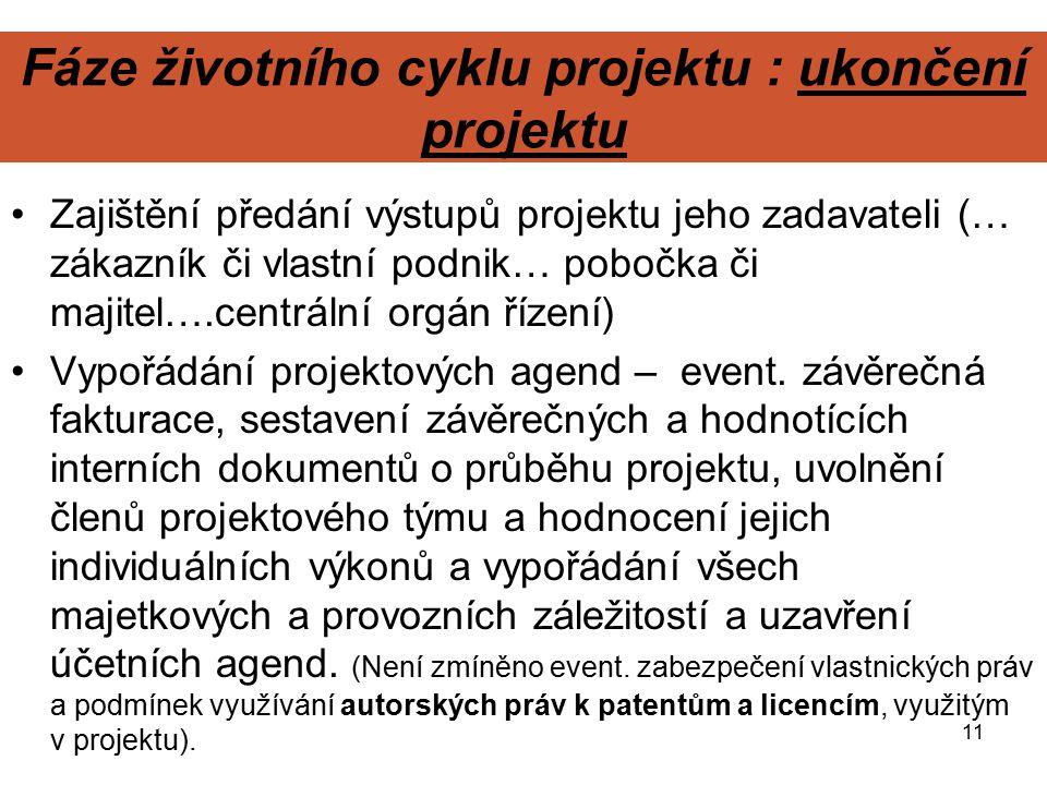 11 Fáze životního cyklu projektu : ukončení projektu Zajištění předání výstupů projektu jeho zadavateli (… zákazník či vlastní podnik… pobočka či maji