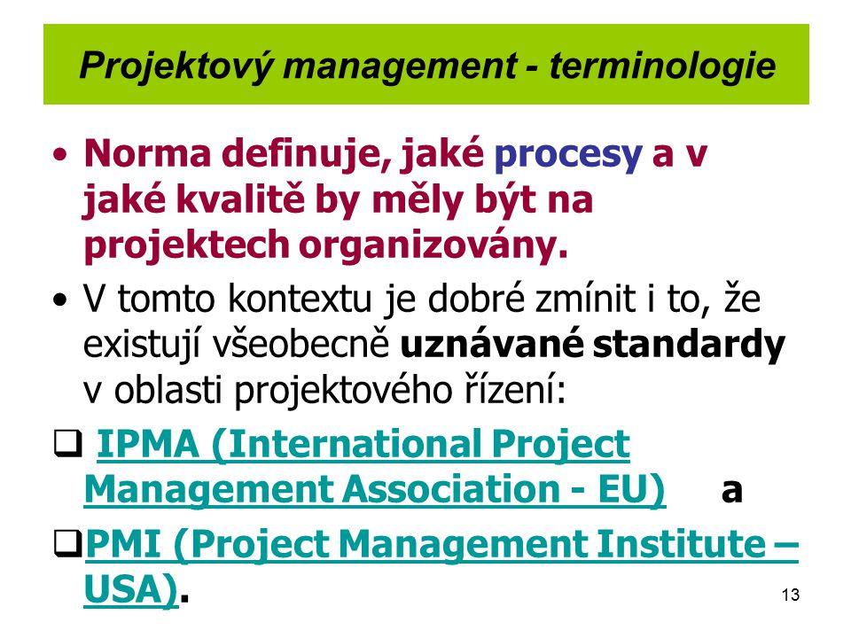 13 Projektový management - terminologie Norma definuje, jaké procesy a v jaké kvalitě by měly být na projektech organizovány. V tomto kontextu je dobr