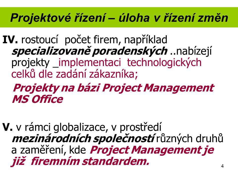 4 Projektové řízení – úloha v řízení změn IV. rostoucí počet firem, například specializovaně poradenských..nabízejí projekty _implementaci technologic