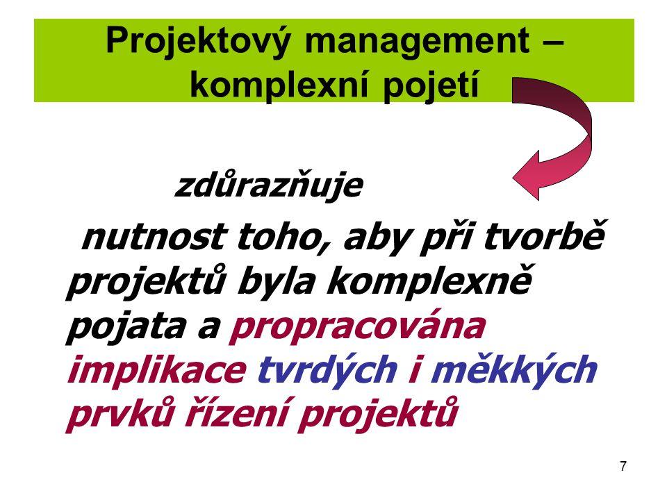 7 zdůrazňuje nutnost toho, aby při tvorbě projektů byla komplexně pojata a propracována implikace tvrdých i měkkých prvků řízení projektů Projektový m