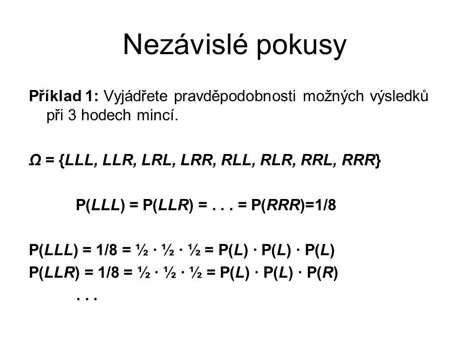 Příklad 1: Vyjádřete pravděpodobnosti možných výsledků při 3 hodech mincí. Ω = {LLL, LLR, LRL, LRR, RLL, RLR, RRL, RRR} P(LLL) = P(LLR) =... = P(RRR)=