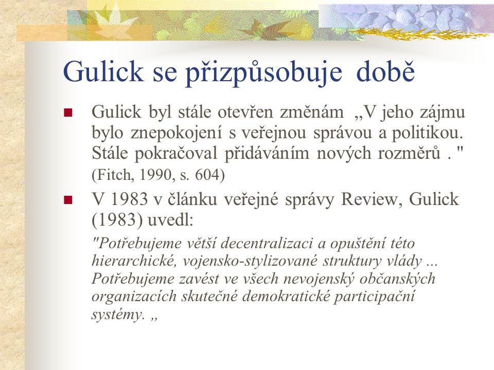 """Gulick se přizpůsobuje době Gulick byl stále otevřen změnám """"V jeho zájmu bylo znepokojení s veřejnou správou a politikou. Stále pokračoval přidáváním"""