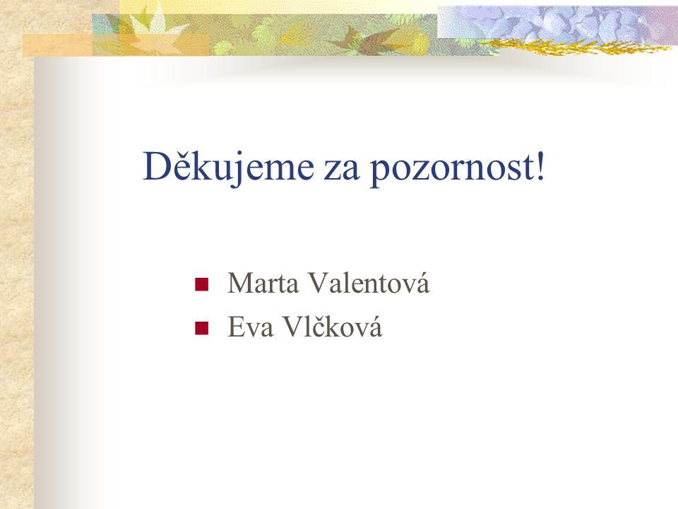 Děkujeme za pozornost! Marta Valentová Eva Vlčková