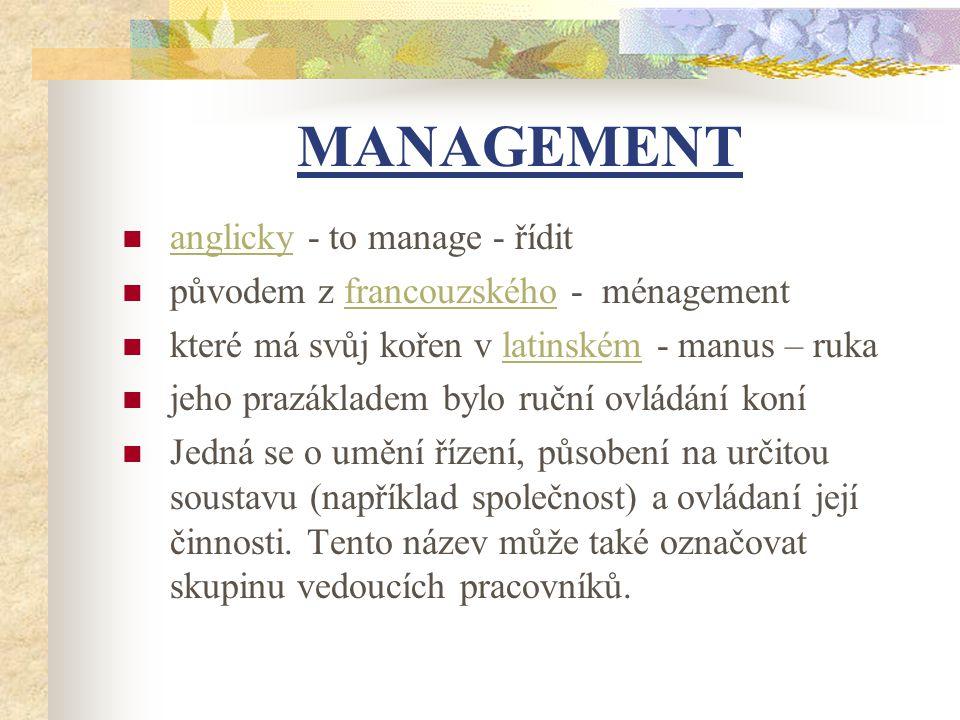 MANAGEMENT anglicky - to manage - řídit původem z francouzského - ménagementfrancouzského které má svůj kořen v latinském - manus – rukalatinském jeho