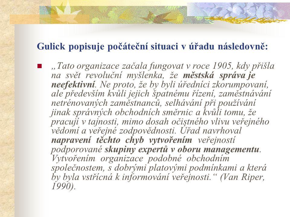 """Gulickova slovní odezva jeho četných dřívějších prohlášeních v knize Poznámky v teorii organizování: """"Stále více jasný… tento těžký úkol úředníků musí být dosažen menším nátlakem a disciplínou a větším přesvědčením."""
