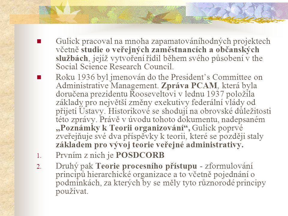 Častý základ v Gulickově práci je právě morální vedení a spokojenost všech účastníků v managementu.