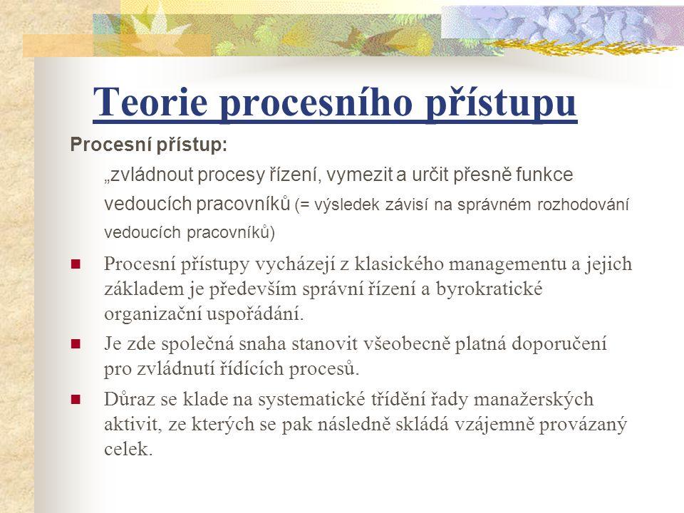 """Teorie procesního přístupu Procesní přístup: """"zvládnout procesy řízení, vymezit a určit přesně funkce vedoucích pracovníků (= výsledek závisí na správ"""
