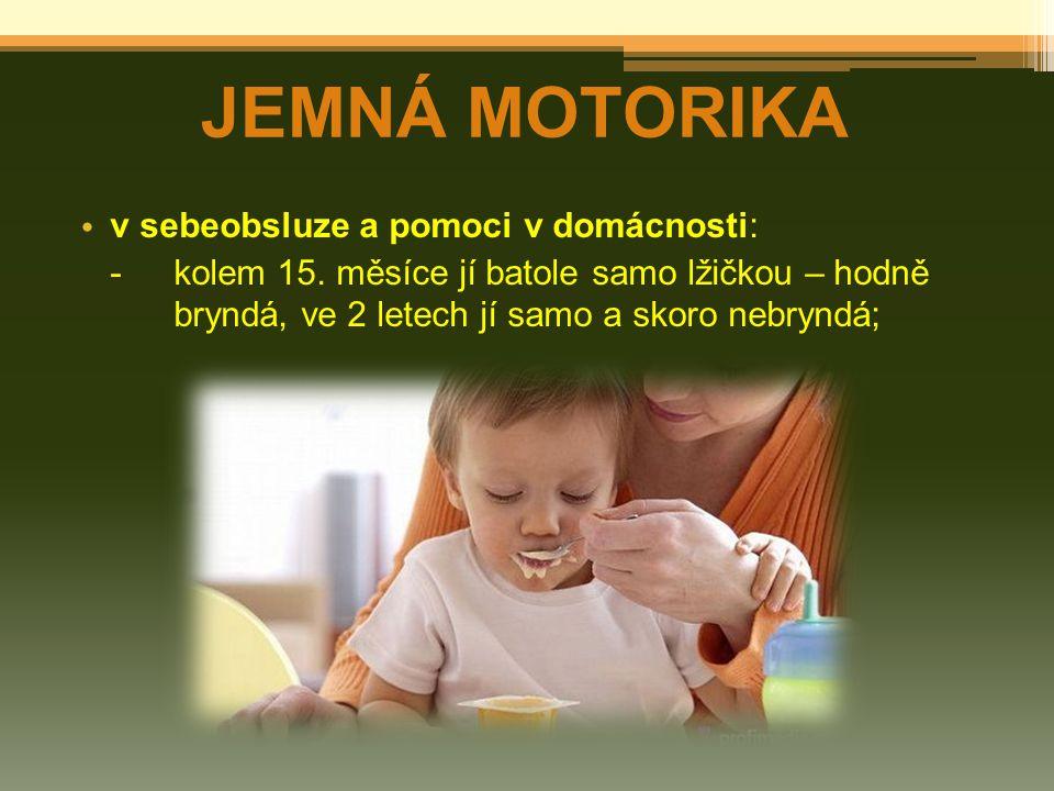 JEMNÁ MOTORIKA v sebeobsluze a pomoci v domácnosti: -kolem 15. měsíce jí batole samo lžičkou – hodně bryndá, ve 2 letech jí samo a skoro nebryndá;