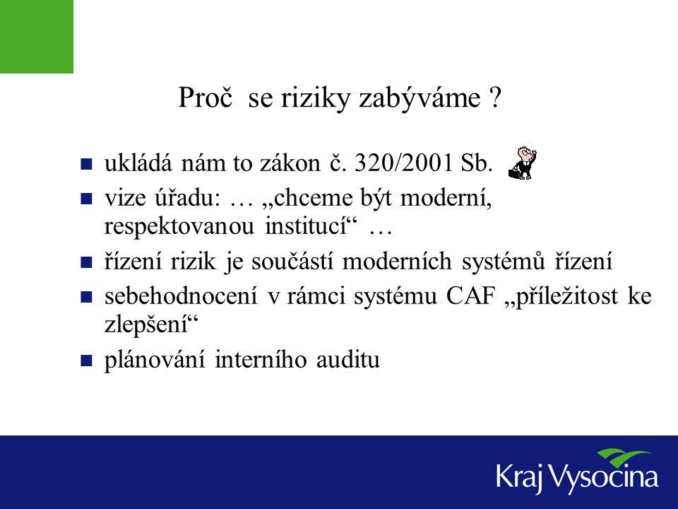 Proč se riziky zabýváme .ukládá nám to zákon č. 320/2001 Sb.