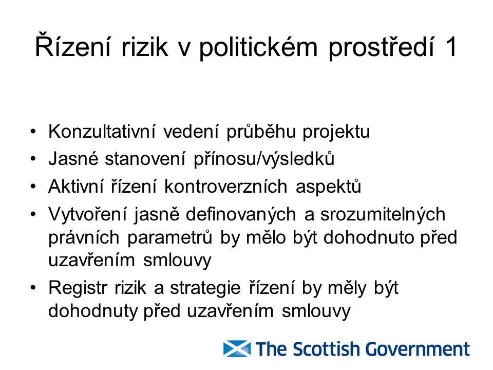 Řízení rizik v politickém prostředí 1 Konzultativní vedení průběhu projektu Jasné stanovení přínosu/výsledků Aktivní řízení kontroverzních aspektů Vytvoření jasně definovaných a srozumitelných právních parametrů by mělo být dohodnuto před uzavřením smlouvy Registr rizik a strategie řízení by měly být dohodnuty před uzavřením smlouvy