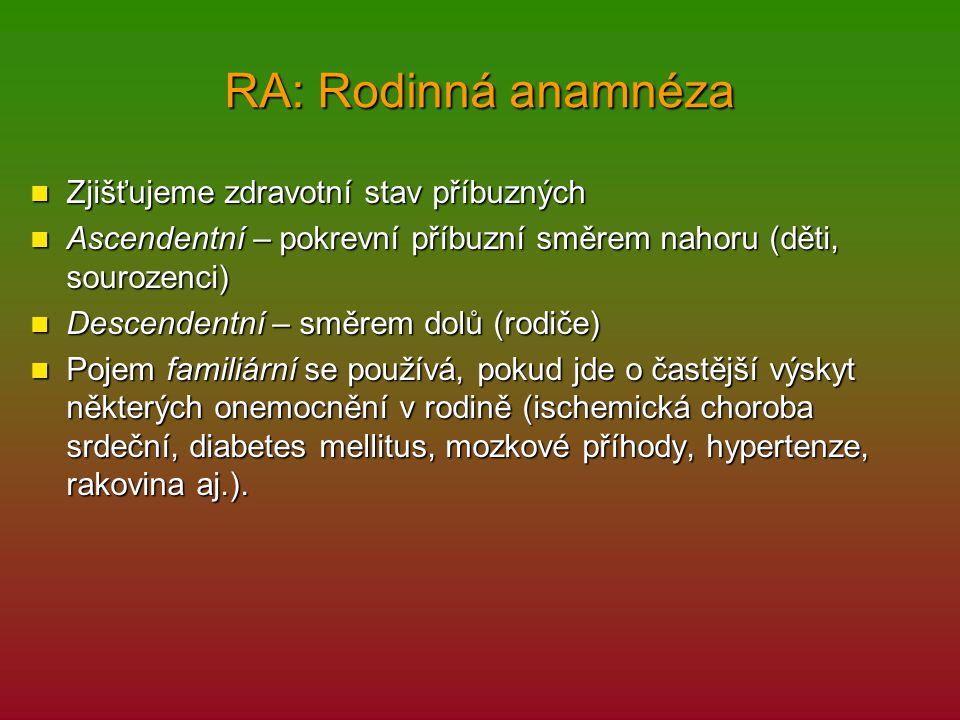 RA: Rodinná anamnéza Zjišťujeme zdravotní stav příbuzných Zjišťujeme zdravotní stav příbuzných Ascendentní – pokrevní příbuzní směrem nahoru (děti, so