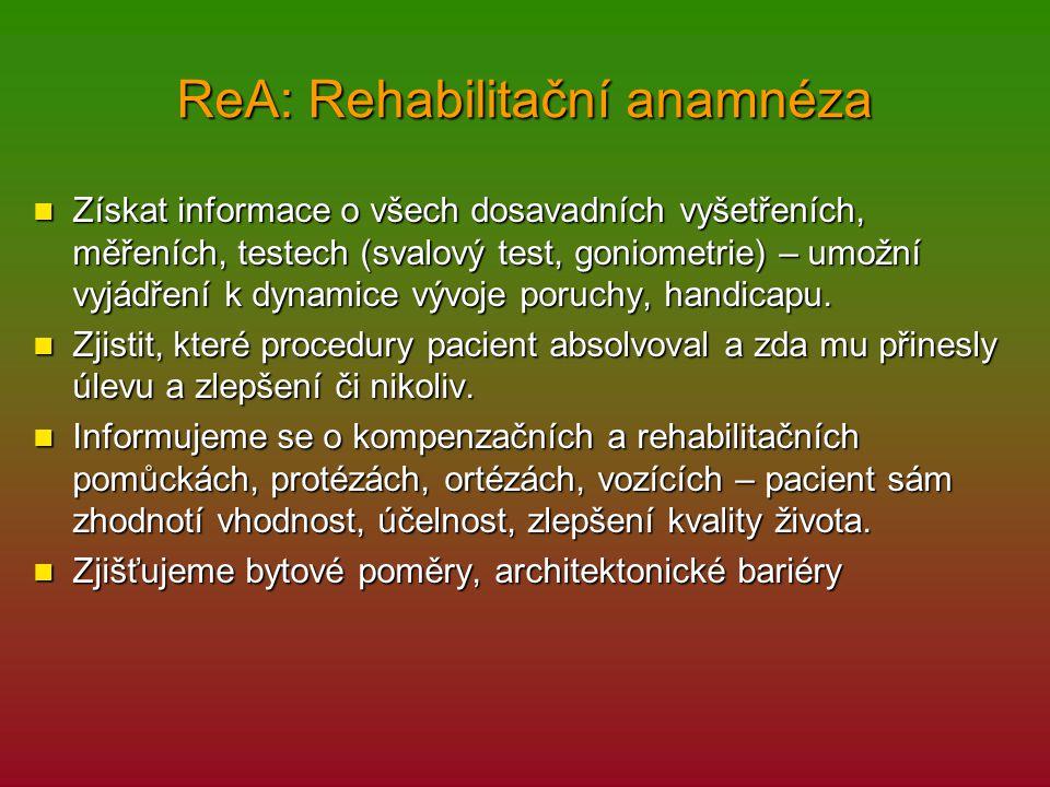 ReA: Rehabilitační anamnéza Získat informace o všech dosavadních vyšetřeních, měřeních, testech (svalový test, goniometrie) – umožní vyjádření k dynam