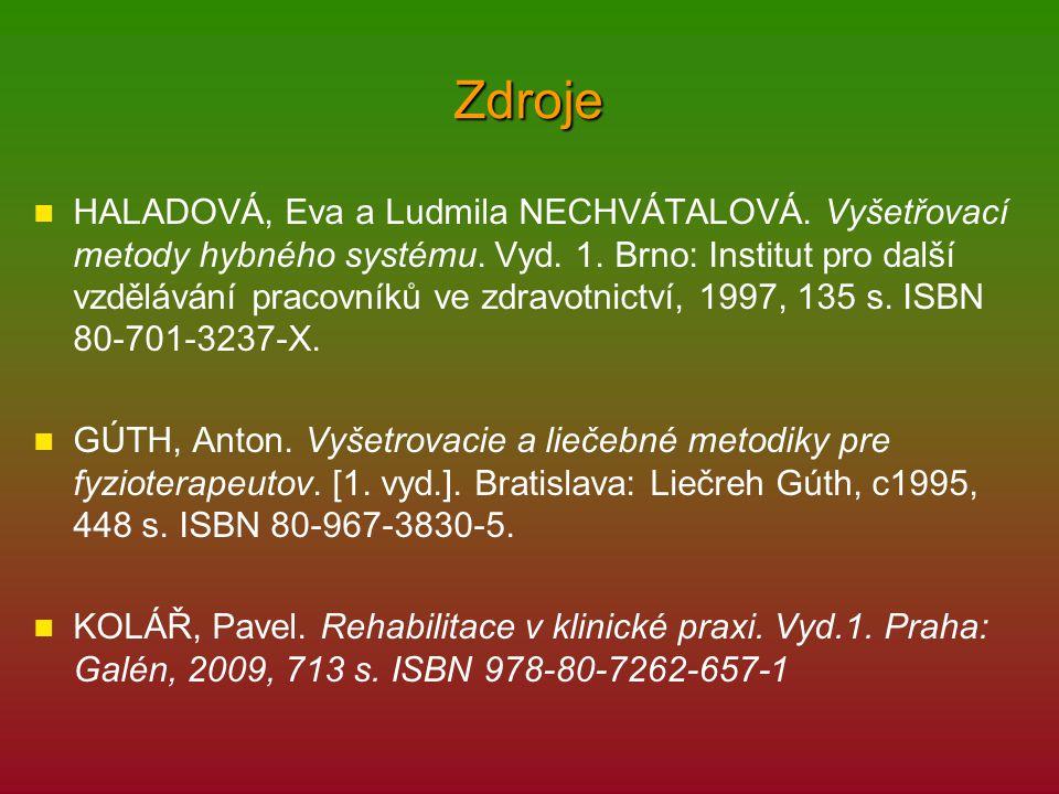 Zdroje JENDRICHOVSKÝ, Marián.Neuro-muskulo-skeletálny koncept diagnostiky pre fyzioterapeutov.
