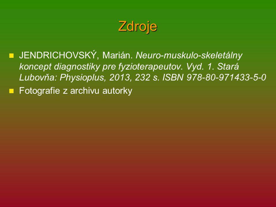 Zdroje JENDRICHOVSKÝ, Marián. Neuro-muskulo-skeletálny koncept diagnostiky pre fyzioterapeutov. Vyd. 1. Stará Lubovňa: Physioplus, 2013, 232 s. ISBN 9