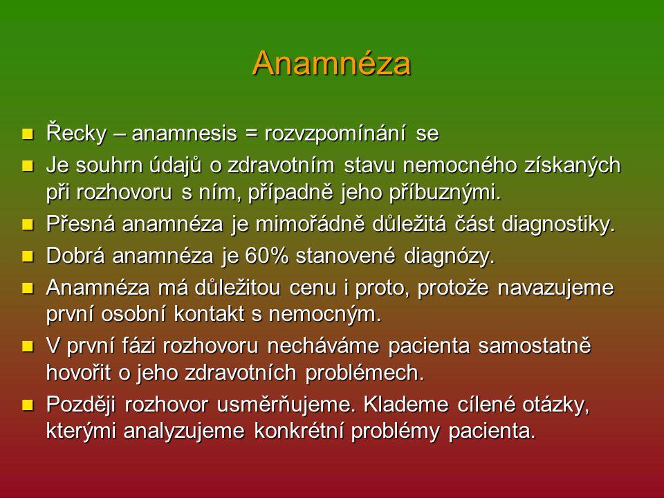 Anamnéza Řecky – anamnesis = rozvzpomínání se Řecky – anamnesis = rozvzpomínání se Je souhrn údajů o zdravotním stavu nemocného získaných při rozhovor