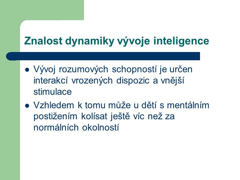 Znalost dynamiky vývoje inteligence Vývoj rozumových schopností je určen interakcí vrozených dispozic a vnější stimulace Vzhledem k tomu může u dětí s