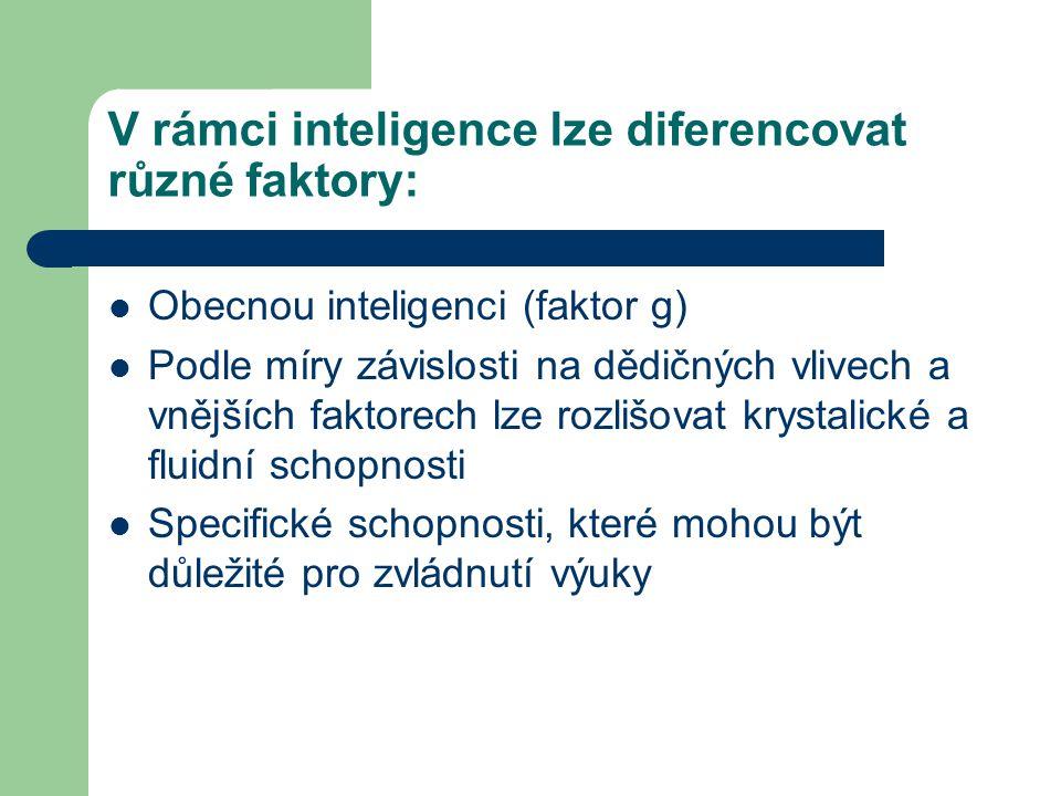 V rámci inteligence lze diferencovat různé faktory: Obecnou inteligenci (faktor g) Podle míry závislosti na dědičných vlivech a vnějších faktorech lze