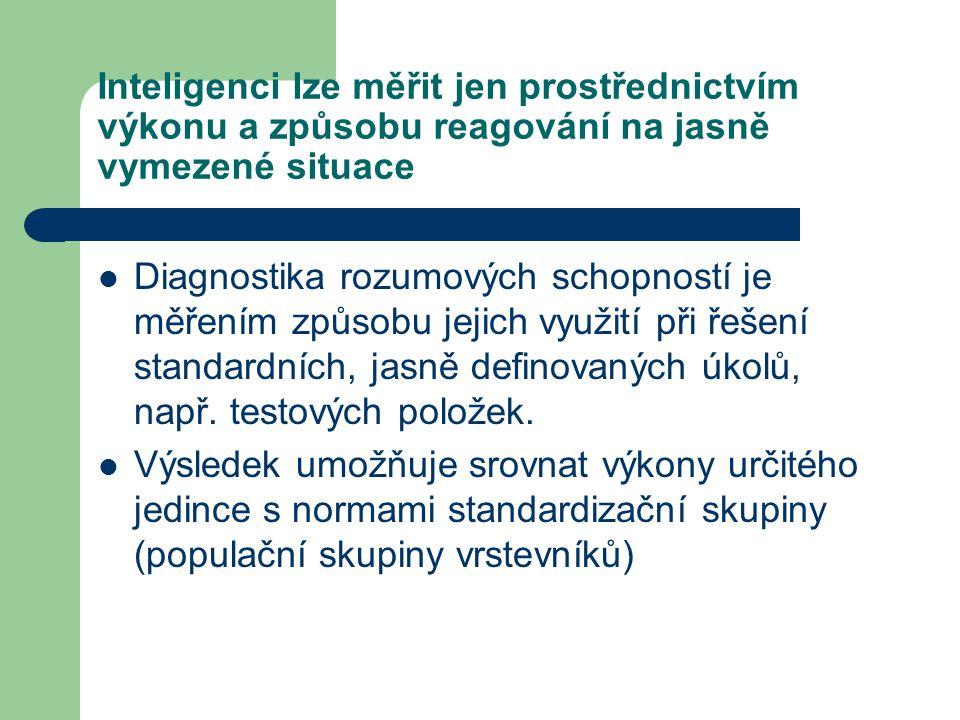 Cílem vyšetření inteligence je: Posouzení celkové úrovně rozumových schopností Posouzení individuálně typické struktury dílčích schopností, tj.