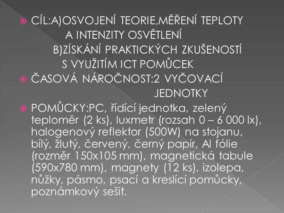  CÍL:A)OSVOJENÍ TEORIE,MĚŘENÍ TEPLOTY A INTENZITY OSVĚTLENÍ B)ZÍSKÁNÍ PRAKTICKÝCH ZKUŠENOSTÍ S VYUŽITÍM ICT POMŮCEK  ČASOVÁ NÁROČNOST:2 VYČOVACÍ JEDNOTKY  POMŮCKY:PC, řídící jednotka, zelený teploměr (2 ks), luxmetr (rozsah 0 – 6 000 lx), halogenový reflektor (500W) na stojanu, bílý, žlutý, červený, černý papír, Al fólie (rozměr 150x105 mm), magnetická tabule (590x780 mm), magnety (12 ks), izolepa, nůžky, pásmo, psací a kreslící pomůcky, poznámkový sešit.