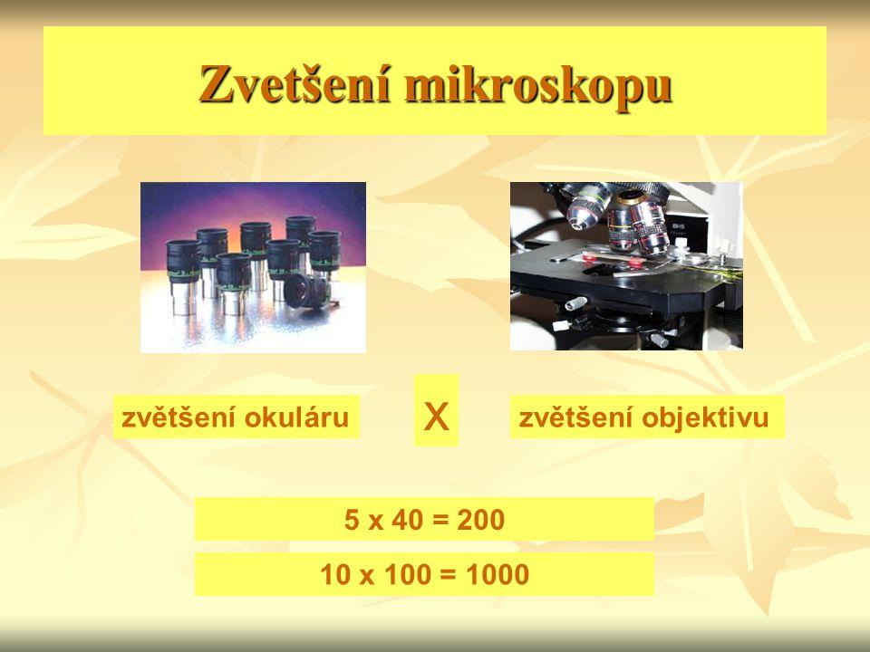 Zvetšení mikroskopu zvětšení okuláruzvětšení objektivu x 5 x 40 = 200 10 x 100 = 1000