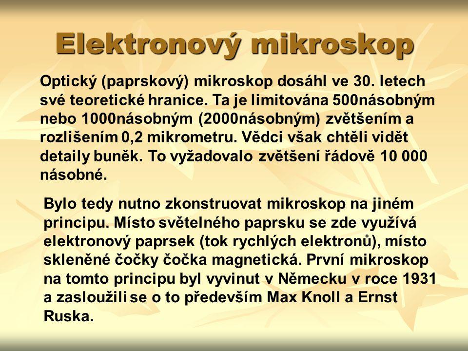 Elektronový mikroskop Optický (paprskový) mikroskop dosáhl ve 30.