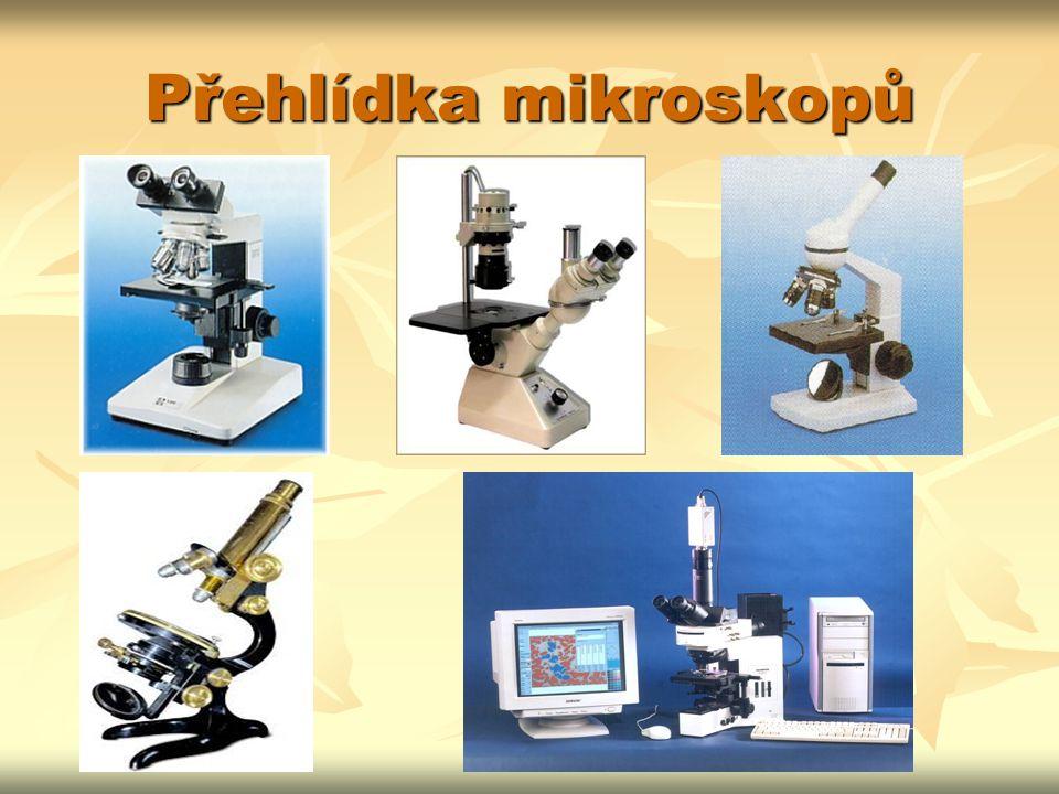 Popis mikroskopu OKULÁR OKULÁR TUBUS TUBUS OBJEKTIV OBJEKTIV STOLEK STOLEK SVORKY SVORKY MAKROŠROUB MAKROŠROUB MIKROŠROUB MIKROŠROUB CLONA CLONA KONDENZOR KONDENZOR ZDROJ SVĚTLA (ZRCÁTKO) ZDROJ SVĚTLA (ZRCÁTKO) STATIV STATIV