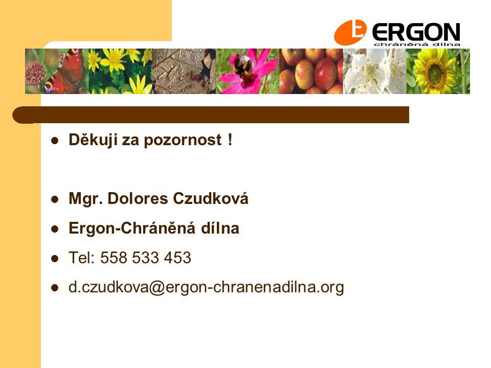 Děkuji za pozornost ! Mgr. Dolores Czudková Ergon-Chráněná dílna Tel: 558 533 453 d.czudkova@ergon-chranenadilna.org