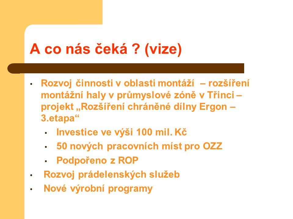 """A co nás čeká ? (vize) Rozvoj činnosti v oblasti montáží – rozšíření montážní haly v průmyslové zóně v Třinci – projekt """"Rozšíření chráněné dílny Ergo"""