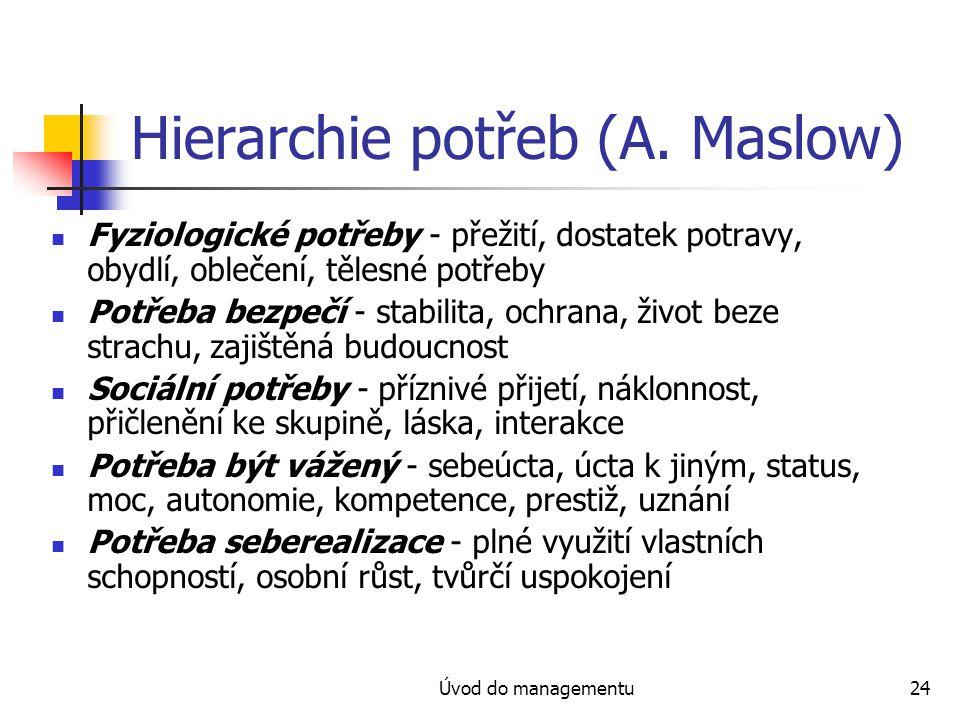 Úvod do managementu24 Hierarchie potřeb (A. Maslow) Fyziologické potřeby - přežití, dostatek potravy, obydlí, oblečení, tělesné potřeby Potřeba bezpeč