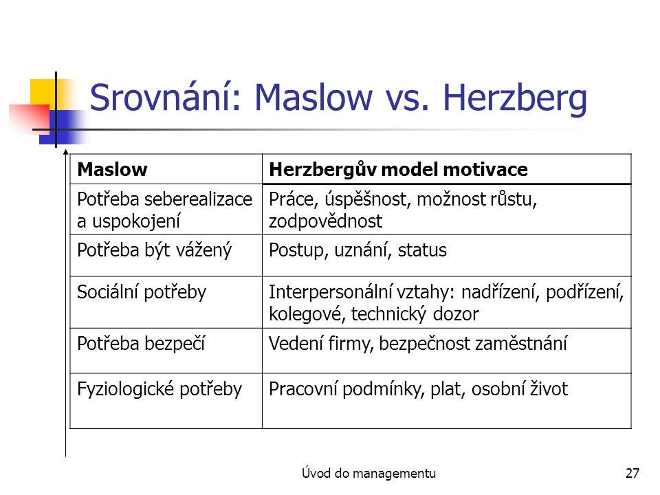 Úvod do managementu27 Srovnání: Maslow vs. Herzberg MaslowHerzbergův model motivace Potřeba seberealizace a uspokojení Práce, úspěšnost, možnost růstu