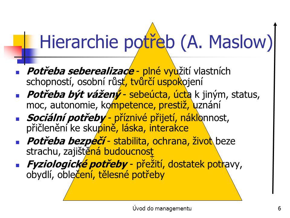 Úvod do managementu6 + Hierarchie potřeb (A. Maslow) Potřeba seberealizace - plné využití vlastních schopností, osobní růst, tvůrčí uspokojení Potřeba