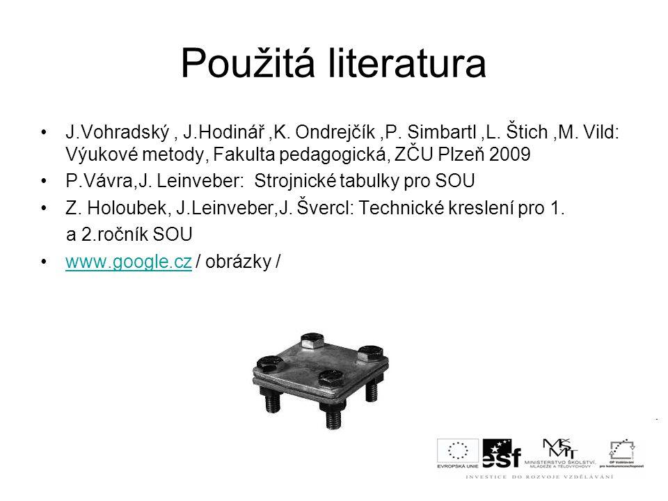Použitá literatura J.Vohradský, J.Hodinář,K. Ondrejčík,P. Simbartl,L. Štich,M. Vild: Výukové metody, Fakulta pedagogická, ZČU Plzeň 2009 P.Vávra,J. Le