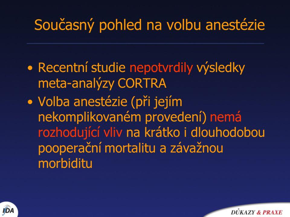 Recentní studie nepotvrdily výsledky meta-analýzy CORTRA Volba anestézie (při jejím nekomplikovaném provedení) nemá rozhodující vliv na krátko i dlouh