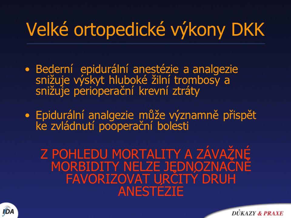 Velké ortopedické výkony DKK Bederní epidurální anestézie a analgezie snižuje výskyt hluboké žilní trombosy a snižuje perioperační krevní ztráty Epidu