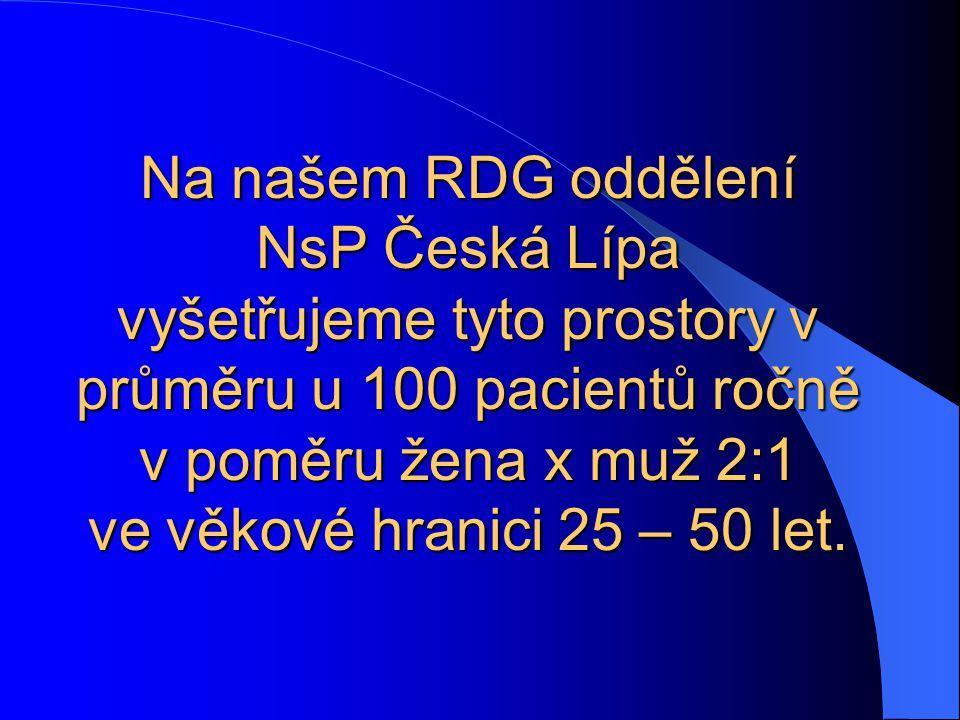 Na našem RDG oddělení NsP Česká Lípa vyšetřujeme tyto prostory v průměru u 100 pacientů ročně v poměru žena x muž 2:1 ve věkové hranici 25 – 50 let.